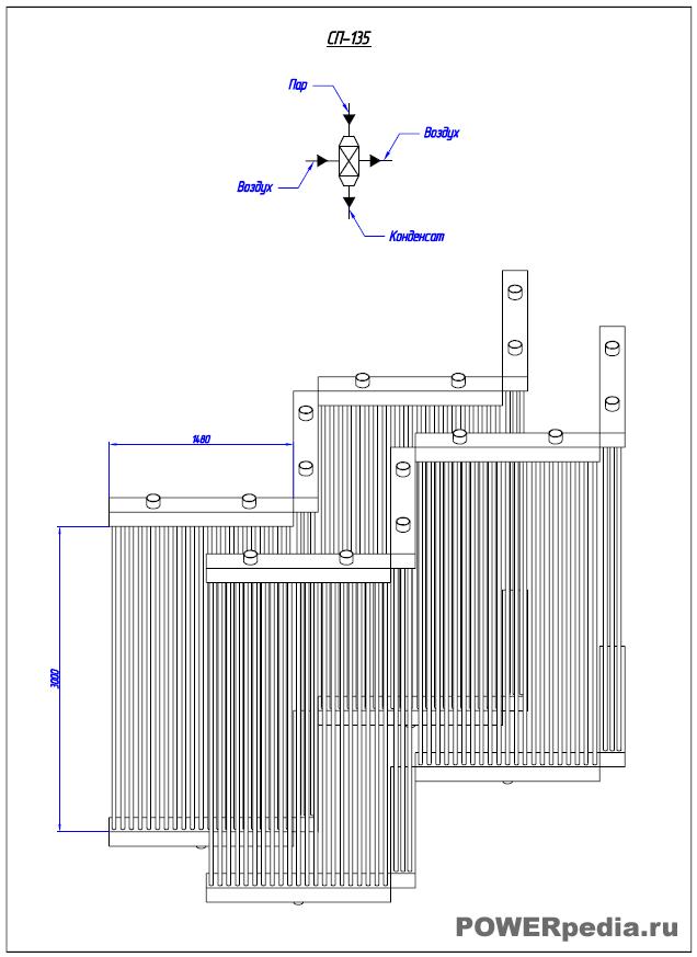 Чертеж энергетического калорифера СП-135