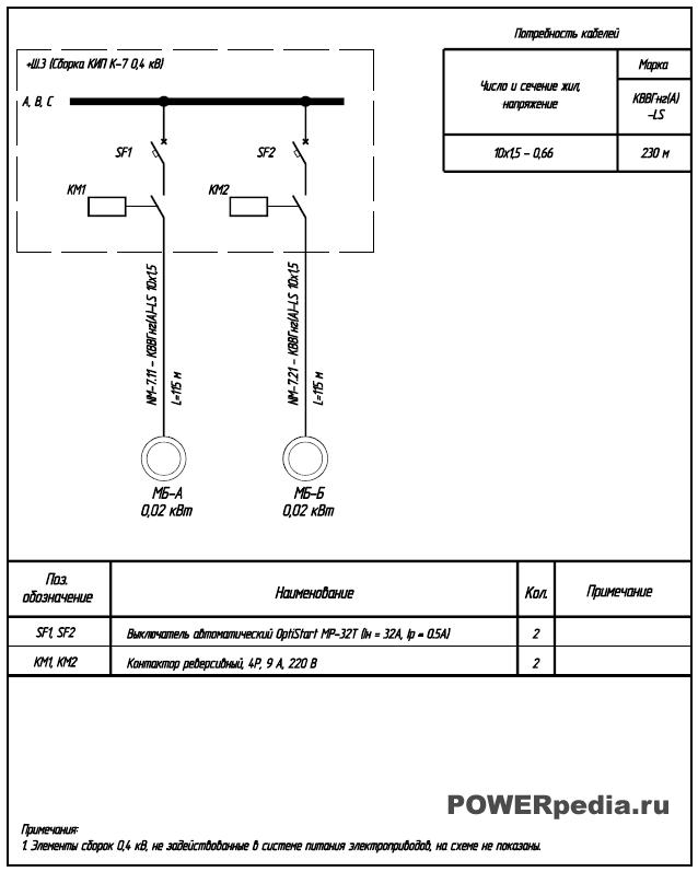 Схема питания электроприводов