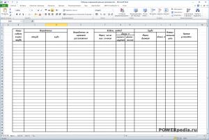 Таблица соединений внешних проводок в формате MS Excel