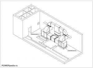 Чертеж помещения компрессорной установки