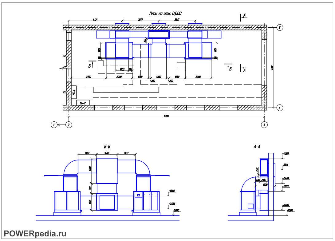 Чертеж коробов вентиляции компрессорной установки