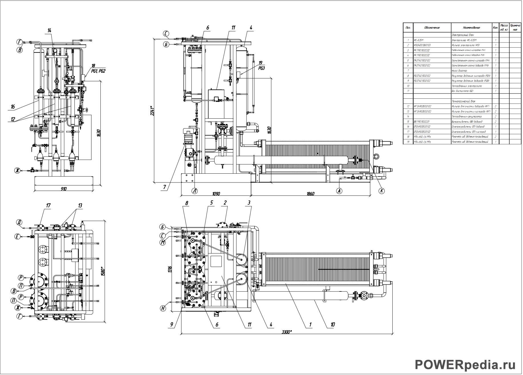 Чертеж электролизной установки ФС-8.25